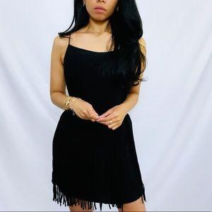Lavender Brown | Black 100% Silk Fringe Dress NWT